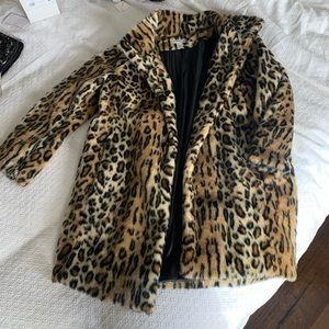 H&M cheetah animal print faux fur coat